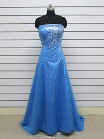 Blue A-Line Strapless Brush Train Netting Sequin Prom Dress
