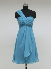 Blue A-Line One Shoulder Knee-length Chiffon Bridesmaid Dress