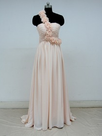 Pearl Pink A-Line One Shoulder Flower Sweep Train Chiffon Fomral Evening Dress