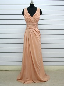 Brown Sheath Ruched V-Neck Brush Train Chiffon Formal Evening Dress