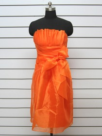 Orange Sheath Strapless Bow Cocktail Length Ice Tulle Cocktail Party Dress
