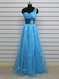 Blue A-Line Fluted One Shoulder Floor-length Ice Tulle Prom Dress
