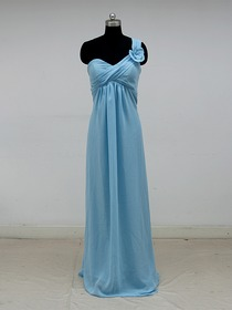 Blue Empire Fluted One Shoulder Floor-length Chiffon Formal Evening Dress