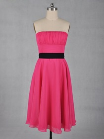 Fuchsia Pencil Fluted Knee Length Chiffon Bridesmaid Dress With Sash