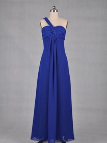 Royal Blue Pencil Fluted One Shoulder Empire Floor Length Chiffon Prom Dress