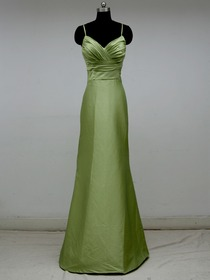 Green Ruched Spaghetti Straps Floor-length Taffeta Long Bridesmaid Dress