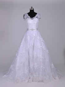 Ball Gown V-Neck Court Train Lace Elegant Wedding Dress (BERMEO)