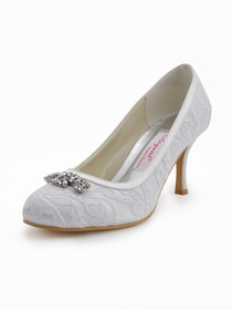 Elegantpark White Almond Toe Stiletto Heel Rhinestones Lace Evening & Party Shoes