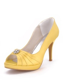 Elegantpark Yellow Peep Toe Platform Satin Rhinestones Evening & Party Shoes