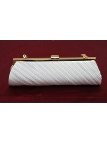 Ivory Square Satin Elegant Clutch Purse Women Handbag with Chain