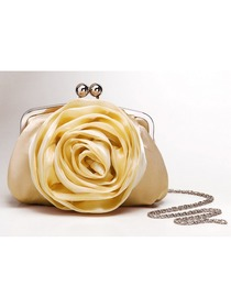 Champagne Flower Design Satin Wedding Purse Women Handbag with Chain