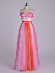Pink Sheath Sweetheart Floor-length Netting Prom Evening Party Dress