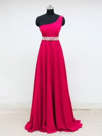 Red A-Line One Shoulder Beading Floor-Length Chiffon Prom Dress