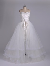 Two-Piece A-line Strapless Sweetheart Netting Organza Wedding Dress (TK2210)