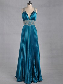 Blue Sheath Ruched V-Neck Floor-length Elastic Silk-like Satin Prom Dress