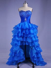 Royal Blue Sweetheart Tiered Asymmetrical Organza Beading Prom Dress