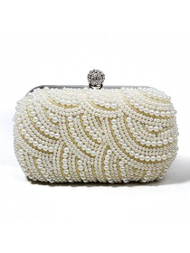 Pretty Light Ivory Pearls Rhinestones Satin Evening Party Bag
