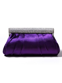 Fabulous Purple Rhinestones Satin Evening Party Handbag
