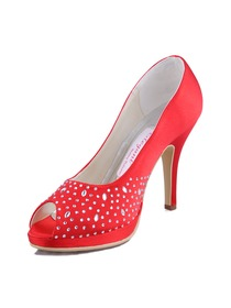 Elegantpark Red Peep Toe Platform Stiletto Heel Rhinestones Satin Evening Party Shoes