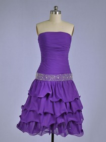 Grape Ruffled Strapless Knee-length Chiffon Short Bridesmaid Dress
