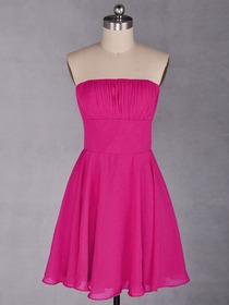 Fuchsia A-Line Ruched Knee-length Chiffon Bridesmaid Dress With Ribbon