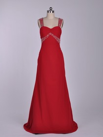 Red A-Line Tank Top Brush Train Chiffon Beading Evening Party Dress
