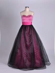 Fuchsia Ball Gown Fluted Sweetheart Floor-length Organza Quinceanera Dress