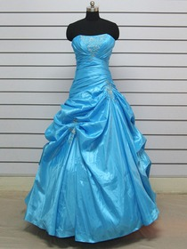 Blue Ball Gown Pick Up Asymmetrical Floor-length Taffeta Prom Dress