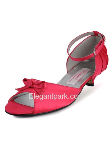 Elegantpark Peach Peep Toe Low Heel Satin Bowknot Wedding Evening Party Shoes (ML-001)