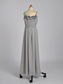 Silver Spaghetti Straps Flower Neckline Ankle-length Chiffon Junior Bridesmaids Dress