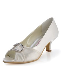 Elegantpark Ivory Peep Toe Chunky Heel Satin Rhinestones Wedding Evening Party Shoes