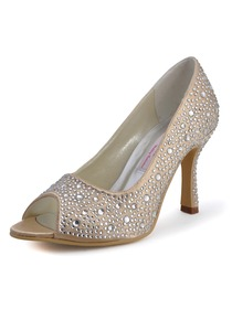Elegantpark Gold Peep Toe Satin Stiletto Heel Rhinestones Bridal Evening Party Shoes