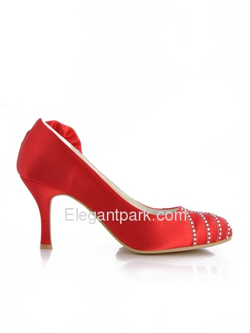 Elegantpark Red Almond Toe Stiletto Heel Satin Rhinestones Flower Wedding Party Shoes (EP41006)