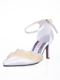 Elegantpark Satin Upper Pointy Toe Stiletto Heel With Buckle Trendy Bridal Shoes