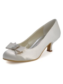 Elegantpark Ivory Round Toe Chunky Heel Satin Bowknot Bridal Evening Shoes