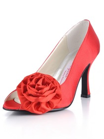 Elegantpark Red Peep Toe Satin Flower Wedding Bridal Shoes (More Colors Available)