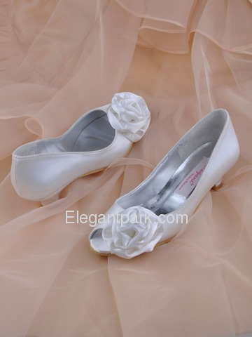 Elegantpark Red Peep Toe Satin Flower Wedding Bridal Shoes (More Colors Available) (EL10024)