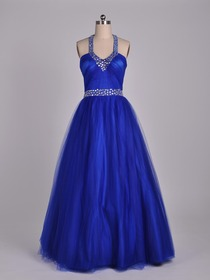 Royal Blue A-Line Fluted Halter Floor-length Netting Prom Evening Party Dress