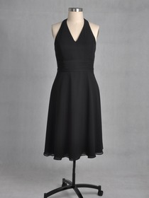 Black A-Line Ruched Halter V-Neck Knee-length Chiffon Bridesmaid Dress