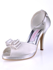 Elegantpark Ivory Peep Toe Bow Platform Stiletto Heel Satin Wedding Bridal Shoes