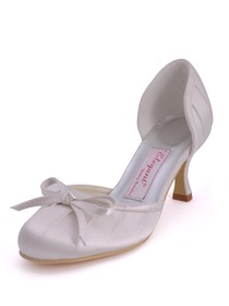 Elegantpark Ivory Satin Round Toes Stiletto Heel Bowknot Pretty Wedding Bridal Shoes