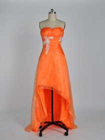 Orange High Low Sweetheart Asymmetrical Organza Prom Dress