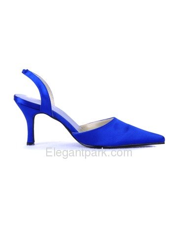 Elegantpark Blue Satin Pointy Toes Stiletto Heel Evening Party Shoes (EP11002)