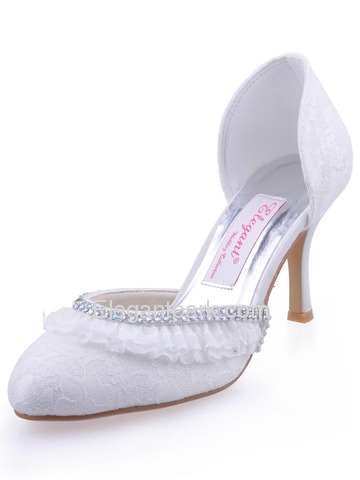 Elegantpark Satin Closed Toe Stiletto Heel/Pumps Rhinestones Bridal Shoes (EP11036)