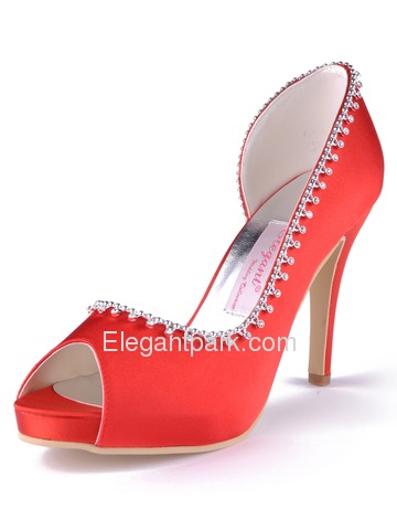 Elegantpark Peep Toe Satin Stiletto Heel Beading Platform Wedding & Evening Shoes (EP11082-IP)