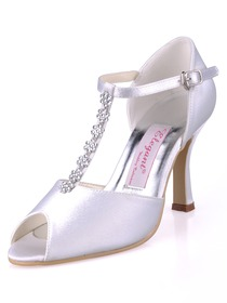 Elegantpark White Peep Toe Stiletto Heel Satin Rhinestones Wedding Eveing Party Shoes