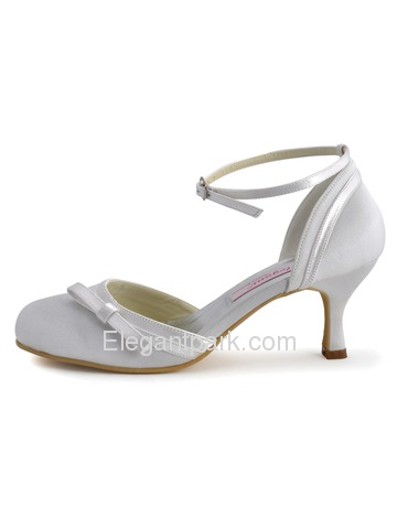 Elegantpark Ivory Satin Closed Toe Stiletto Heel Evening Party Shoes (R001)