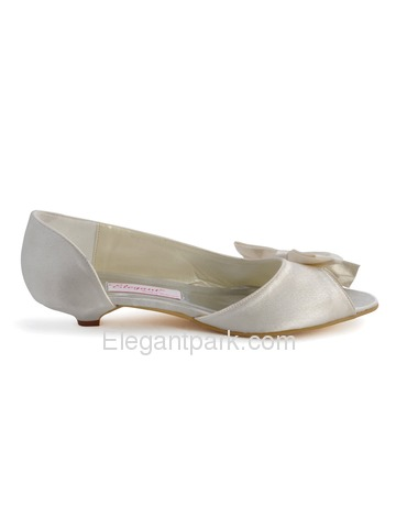 Elegantpark Ivory Peep Toe Bowknot Low Heel Satin Bridal Evening Party Shoes (WM-019)