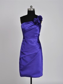 Regency A-Line Ruched One Shoulder Knee-length Bridesmaid Dress
