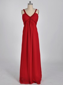 Red Empire Tank Top Floor-length Chiffon Beading Bridesmaid Dress